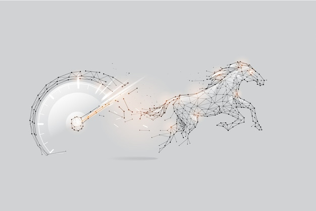 The particles, geometric art, line and dot of speed meter and horse.