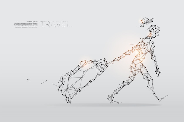 The particles, geometric art, line and dot of travel.