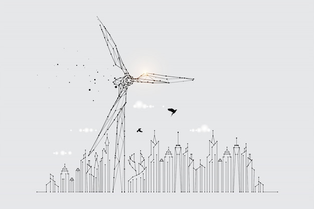The particles, geometric art, line, and the dot of the wind turbine