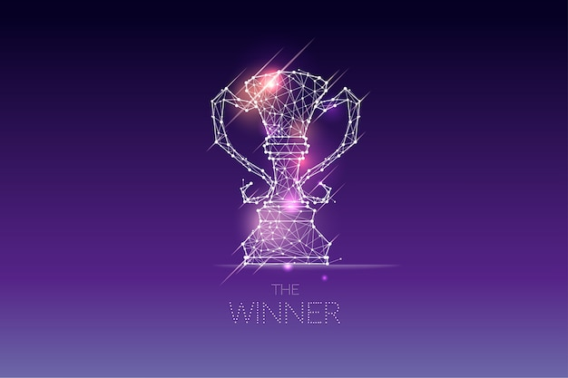 The particles, geometric art, line and dot of winner trophy