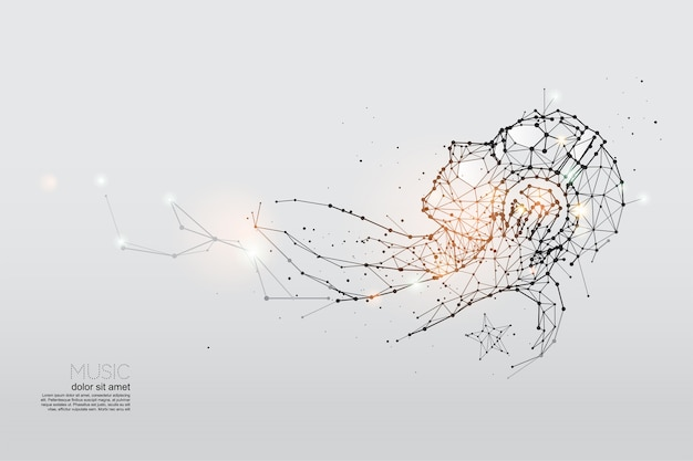 The particles, geometric art of listening music.