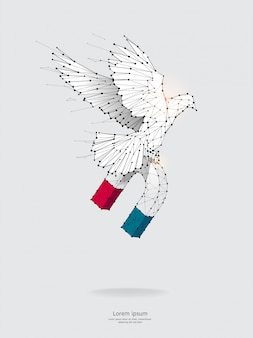 Particles, geometric art, of magnet and bird flying