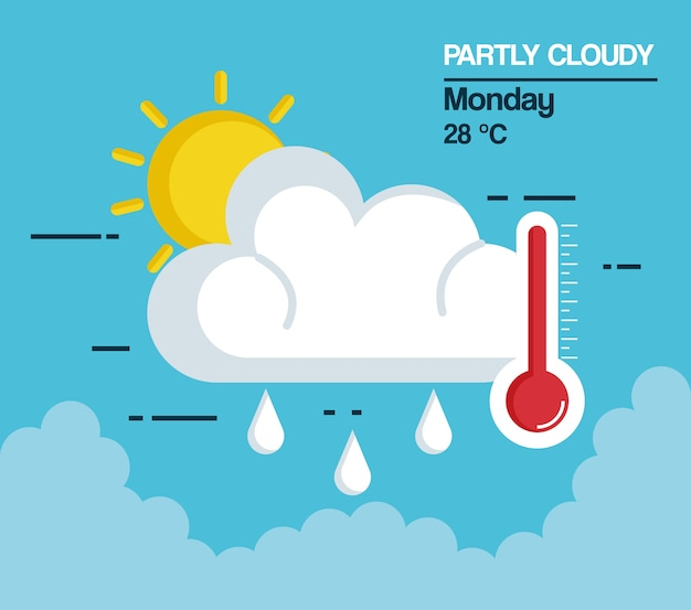 Partly cloudy weather icon vector illustration design