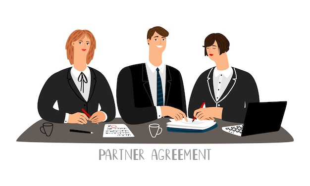 Partner agreement concept illustration