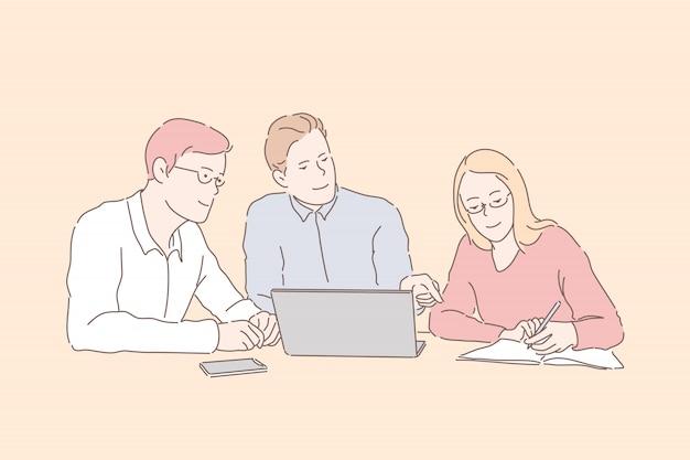 Partners businessmen and businesswoman develop, improve tactics work.