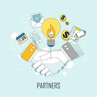 パートナーの概念:ラインスタイルで手を振るビジネスマン