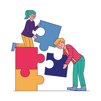 Partners doing jigsaw puzzle flat illustration