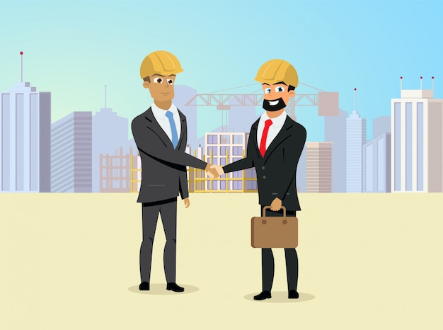 Partners handshaking on construction site vector