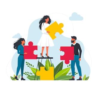 大きなジグソーパズルのピースフラットベクトルイラストを保持しているパートナー。成功したパートナーシップ、コミュニケーション、コラボレーションの比喩。チームワーク、ビジネス協力の概念。ベクトルイラスト