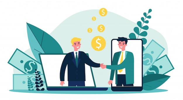 Partners shaking hands   illustration