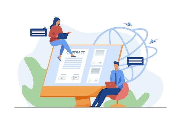 Партнеры подписывают договор онлайн. люди говорят на мониторе с документом с плоской векторной иллюстрацией подписей. интернет, глобальный бизнес