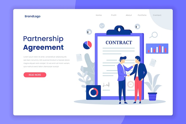 Partnership agreement landing page