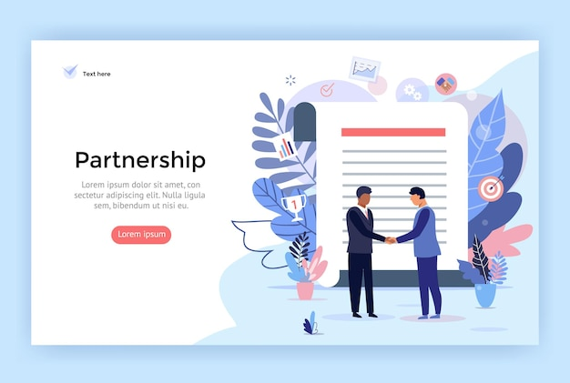 Partnership and agreement signing concept illustration