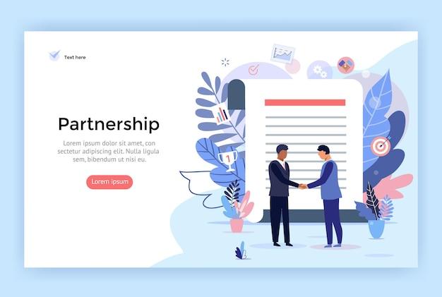Иллюстрация концепции партнерства и подписания соглашения