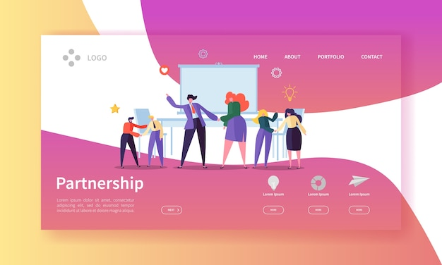 Partnership and collaboration landing page template. business people characters handshake come to agreement for web page or website.