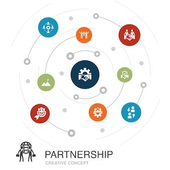 Партнерство цветное понятие круга с простыми значками. содержит такие элементы, как сотрудничество, доверие, сделка, сотрудничество.