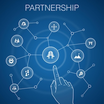Partnership concept, blue background.collaboration, trust, deal, cooperation icons