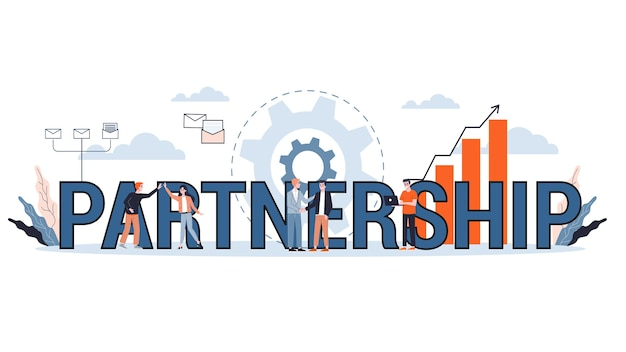 파트너십 개념 그림입니다. 회사, 협업 및 성공에 대한 아이디어. 만화 스타일의 그림