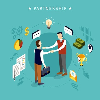 Концепция партнерства в 3d изометрической плоской конструкции