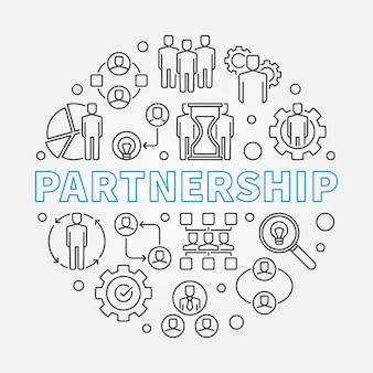 Partnership concept outline illustration