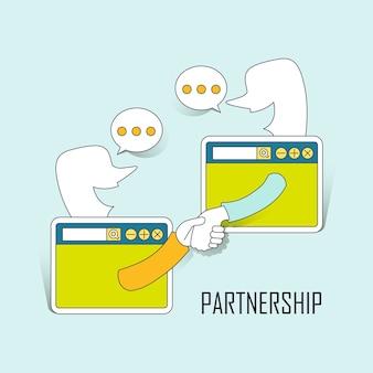 パートナーシップの概念:ラインスタイルでインターネットを介して手を振る2人のビジネスマン