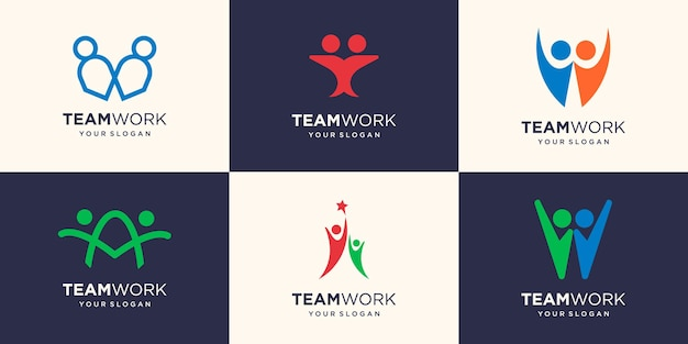 Partnership connection concept of teamwork and great work logo design