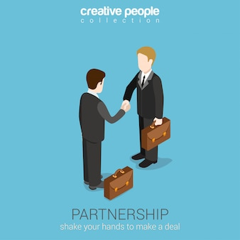 Partnership deal handshake to succeed isometric concept. two businessmen shaking hands illustration.