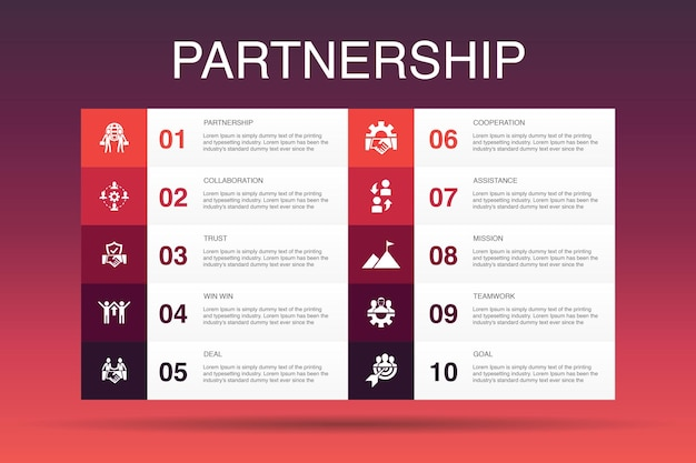 Partnership infographic 10 option template.collaboration, trust, deal, cooperation simple icons