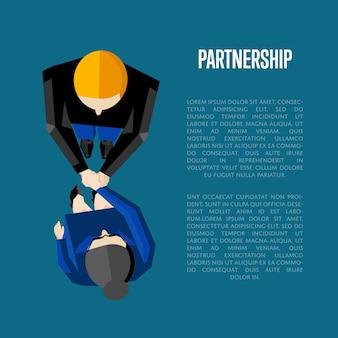 Partnership informative poster template. top view partners handshaking