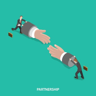 Partnership isometric flat vector concept.