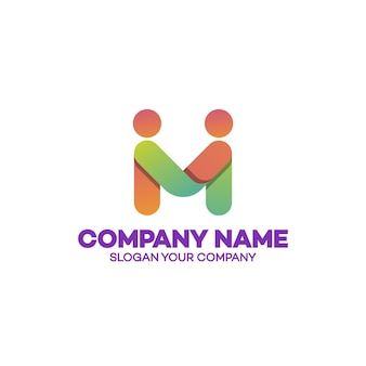 Partnership logo template business concept, emblem, icon, logotype, design element consisting of two people shake hands