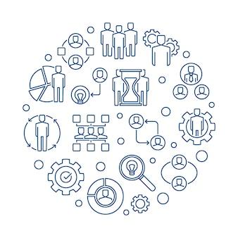 Partnership round business outline icon illustration