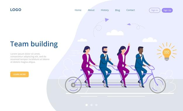 Концепция партнерства, тимбилдинга и совместной работы. мультяшные мужские и женские персонажи вместе едут на тандемном велосипеде на пути к новой идее в форме лампочки. красочный плоский стиль.