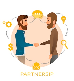 Partnership, two men shake the cookies. agreement on teamwork. business symbols in a circle. elements for web design.