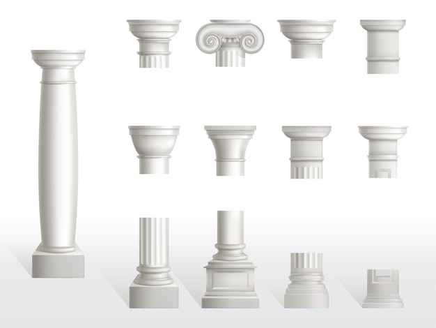 Parts of ancient column, base, shaft and capital set. ancient classic ornate pillars of roman or greece architecture, white marble stone. tuscan, doric, ionic order. realistic 3d vector illustration
