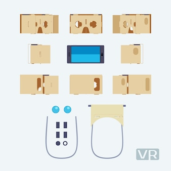 Parts of the cardboard virtual reality headset.