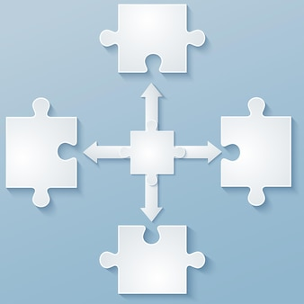 Parts of paper puzzles with arrows. elements of design, template, brochure