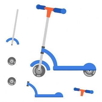 Parts of scooter vector illustration