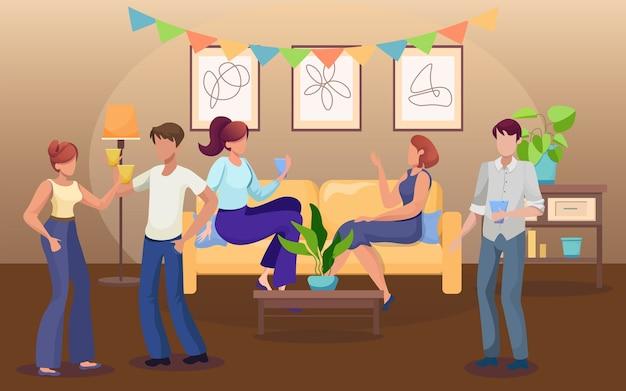 自宅でのパーティーフラットイラスト
