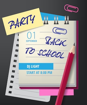 Party, back to school lettering with notebook and pencil