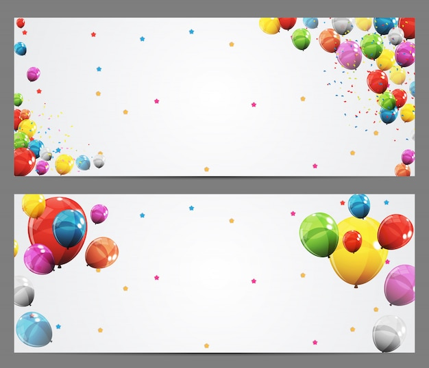 Party background banner and balloons