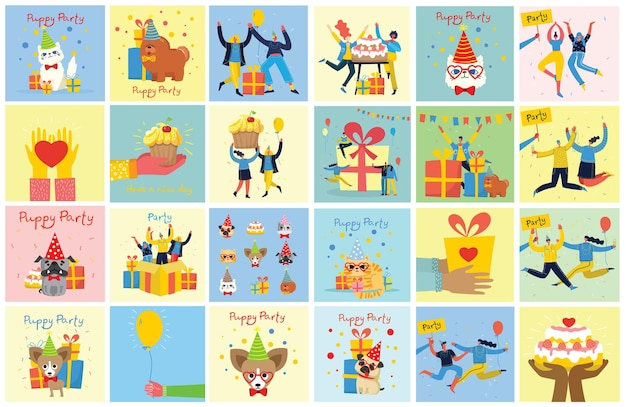 Party background cards. illustrations in a flat style