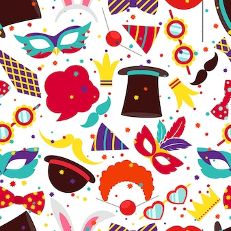 Party background or carnival pattern. mask and cylinder, bunny ears, vector illustration