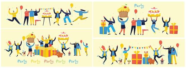 パーティーの背景。明るい背景にジャンプする人々の幸せなグループ。フラットスタイルのイラスト