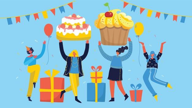 Партийный фон. счастливая группа людей прыгает на ярком фоне. концепция дружбы, здорового образа жизни, успеха. векторная иллюстрация в плоском стиле