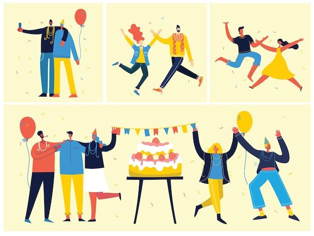 파티 배경. 밝은 배경에서 점프하는 사람들의 행복 그룹.