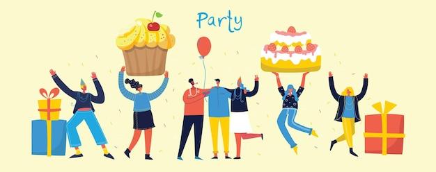 パーティーの背景。明るい背景にジャンプする人々の幸せなグループ。