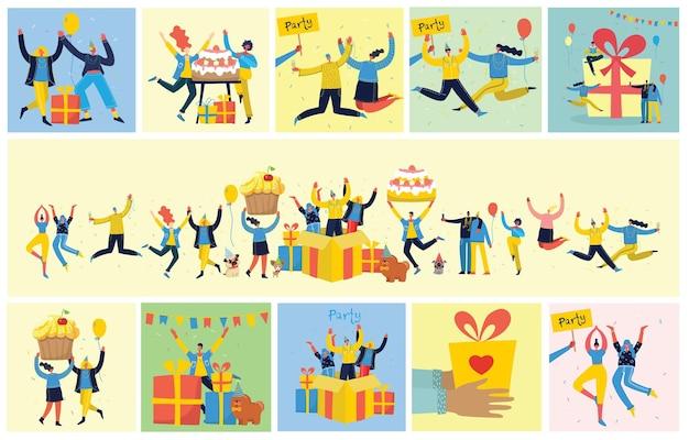Партийный фон. счастливая группа людей прыгает на ярком