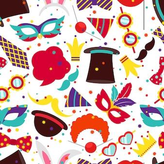 パーティーの背景やカーニバルのパターン。マスクとシリンダー、バニーの耳、ベクトル図