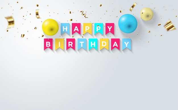 Party background with balloon illustrations and colorful square objects reading happy birthday.